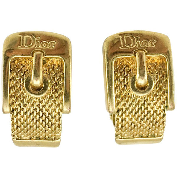Dior Gold-Plated Buckle Earrings - 2000's