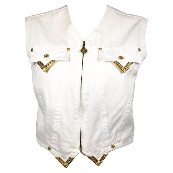 Versace White Denim Waistcoat With Gilt Tips - 1991