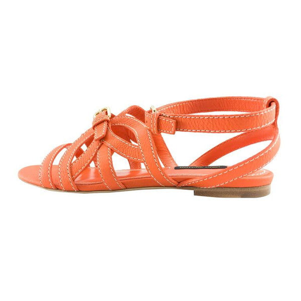Louis Vuitton Orange Leather Flat Sandals