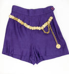 Moschino Royal Purple Linen Shorts With Attached Gilt Coin Belt - 1990's