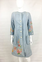 Dior Runway Look by Galliano Crystal and Appliqué Embellished Denim Shirt Dress - 2005