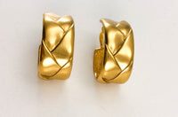 Yves Saint Laurent Gold-Plated Quilted Hoop Earrings - 1980's