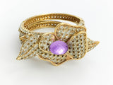 Valentino Diamanté and Faux Amethyst Gilt Flower Bracelet - 1990's