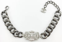 Chanel Runway Look Diamanté Embellished Grey Chunky Chain Choker Necklace - 2014