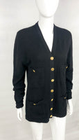 Chanel Black Cashmere Cardigan With Gilt Buttons - 1990's