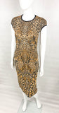 Alexander McQueen Stretch Knit Golden and Black Dress - 2009