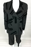 Chanel Black Wool Trouser Suit With Velvet Details - 1998