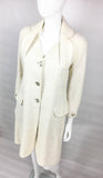 Dior by Galliano White Boucle Coat With Enamelled Padlock Buttons - 2005