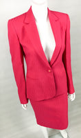 Gianni Versace Couture Shocking Pink Skirt Suit With Medusa Head Adorned Buttons - 1980's