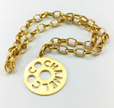 Chanel Chunky Gold-Tone 'Coco Chanel' Disk Pendant Chain Necklace - 1970's
