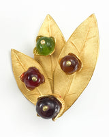 Dominique Aurientis Gilt 'Leaf' Earrings Embellished With Colourful Resin Beads - 1980's