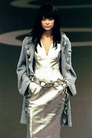 Chanel Runway Look Silver Lambskin Leather Dress - 1999