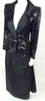Yves Saint Laurent Le Smoking Sequin Jacket, Long and Short Satin Skirts - 1980