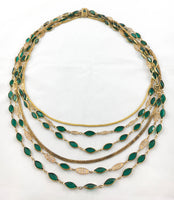 Vintage Multi-Strand Gold-Toned and Green Paste Necklace - 1930's