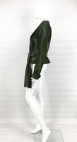 Yves Saint Laurent Moss Green Ponyskin Jacket With Eyelets - 2010s