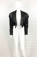 Versace Black Leather Jacket With Tassel Embellished Collar - 1980s