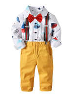 Spring pant and cartoon theme shirt w/ suspenders and bow tie