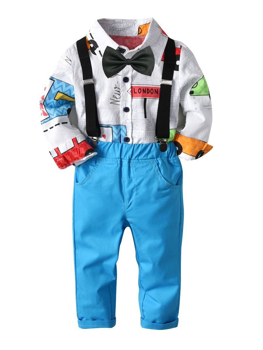 Cartoon Printed Shirt Long Sleeve and Adjustable suspenders, Blue Pants and bowtie