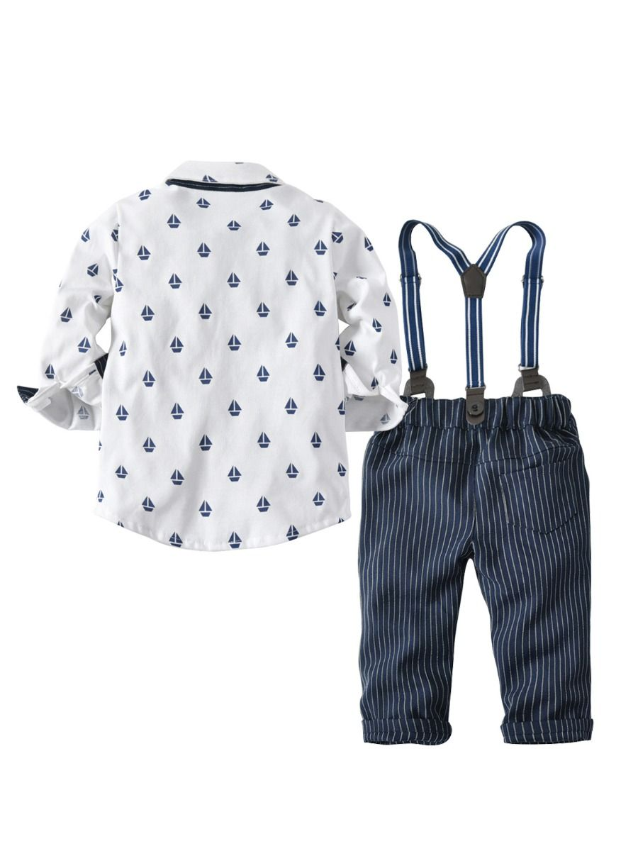 3-Piece Sailboat Printed Long Sleeve Shirt , Suspenders, Blue Striped Pants Set