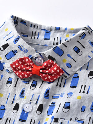 Multi-printed themed Baby Boy Romper with Star Bowtie