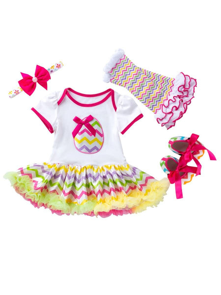 4-Piece Baby Girl Dress/Tutu Easter Egg Print Short Sleeve