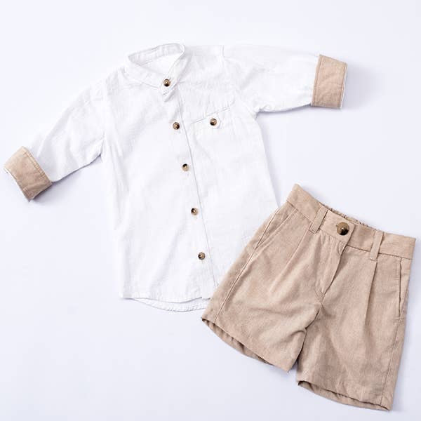 Kaisu natural long sleeve shirt and shorts