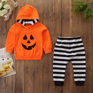 Pumpkin Stripes 2 pc orange and striped