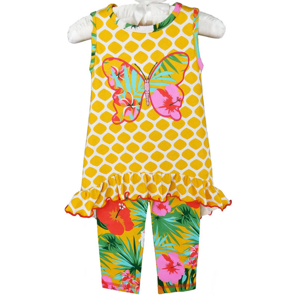 Butterfly Floral 2pc dress with matching leggings