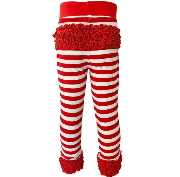 Ruffled Bottom leggings candy cane