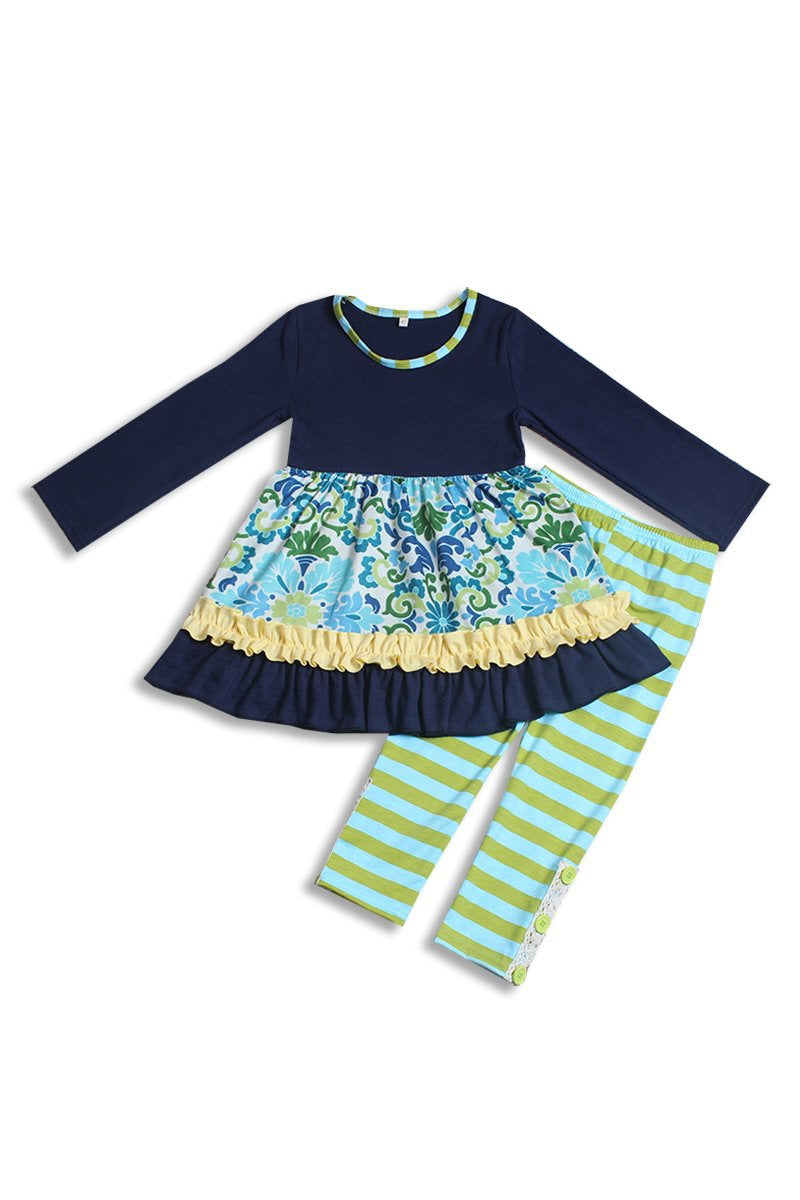 Navy Green Paisley Top Pants 2 Pieces Set for toddlers/girls