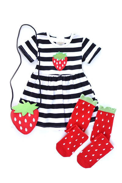 Strawberry dress, purse and socks