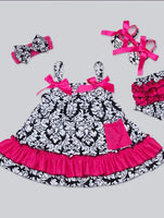 Sleeveless strapped dresses Hairband Shoes Pants Set pink/black