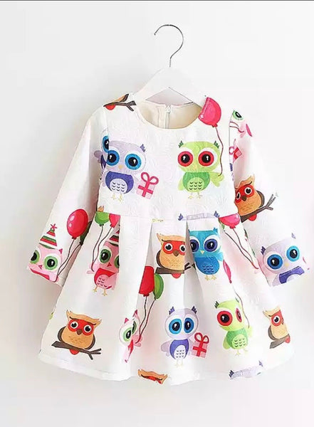 Popular colorful owl cartoon image Spring dress