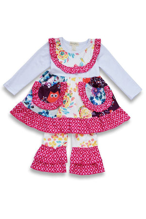 Popular owl face floral ruffled spring set