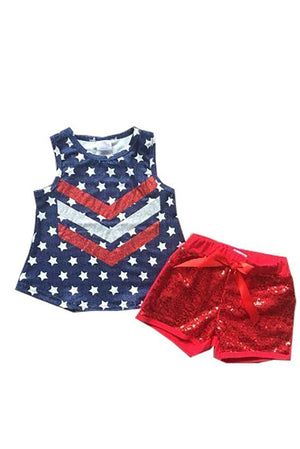Patriotic Star print top with Sequin shorts