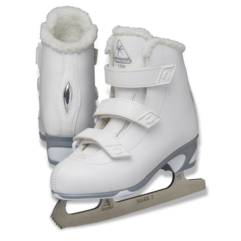 Jackson Ultima Finesse girls velcro white figure skate