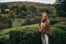Cashmere mix tweed cape with detachable fur collar - BARRINGTON AYRE SPORT