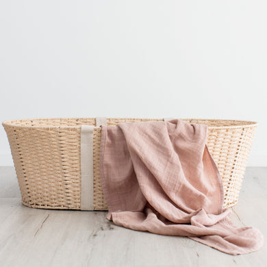 Organic Cotton Muslin Swaddle/Wrap - Dusty Pink