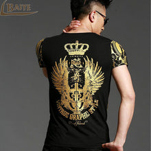 Load image into Gallery viewer, Men's Gold  Angel Wings Cross T-Shirt