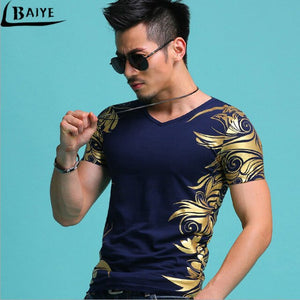 Men's Gold  Angel Wings Cross T-Shirt