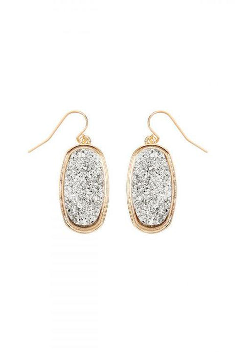 Oval Druzy Earrings (silver)