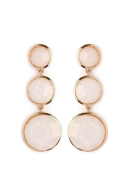 White Gem Drop Earrings