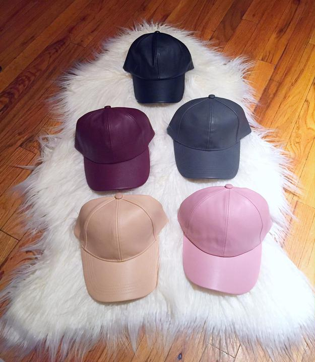 Faux Leather Baseball caps