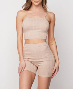 Chloe Ribbed Short Set (tan)