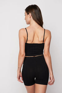 Chloe Ribbed Short Set (black)