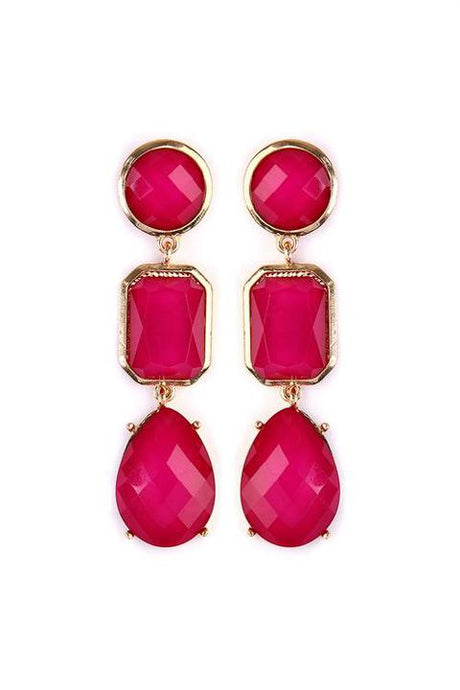 Pink Gem Drop Earrings