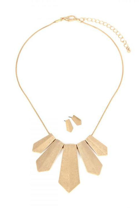 Gold Metal Plate Necklace set