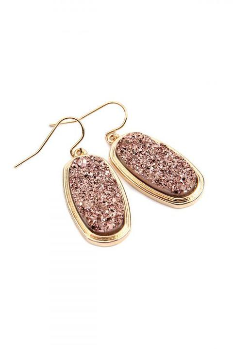 Oval Druzy Earrings (pink)