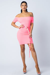 You Brighten My Day Dress (neon pink)
