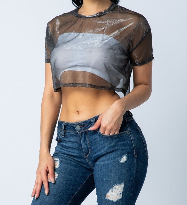 Nina Mesh Crop Top (black)